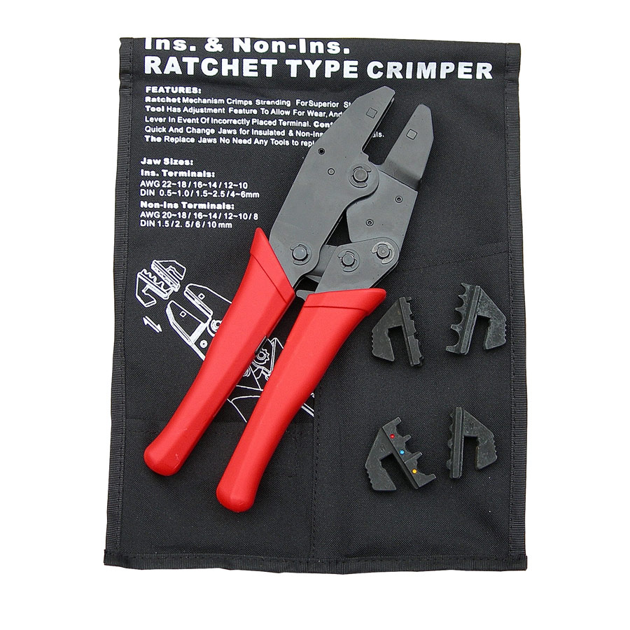 Heavy Duty Interchangeable Jaw Ratchet Crimper Set