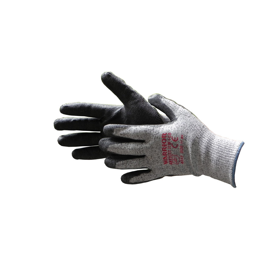 Warrior Black Anticut Level 5 Kevlar Safety Gloves Size 11