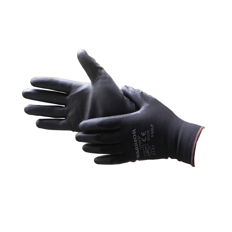 Black nylon PU coated working glove - size 9 x 1 pair