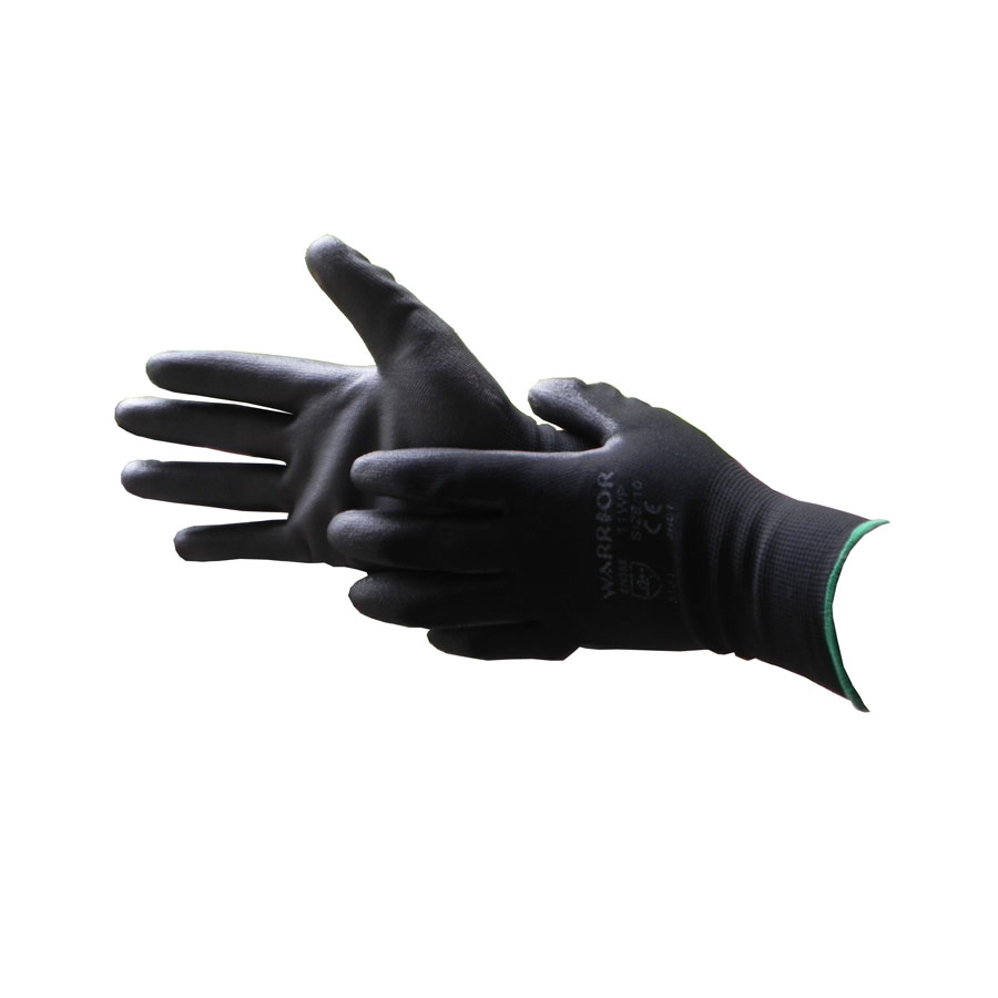 Black nylon PU coated working glove - size 10 x 1 pair