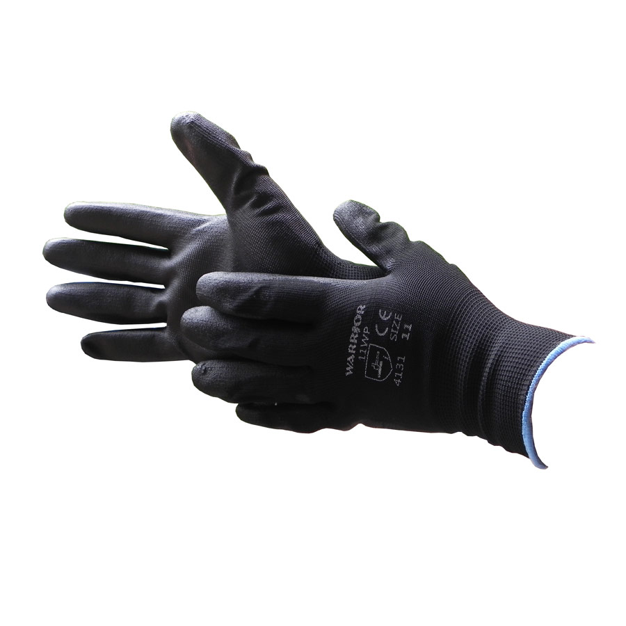 Black nylon PU coated working glove - size 11 x 1 pair