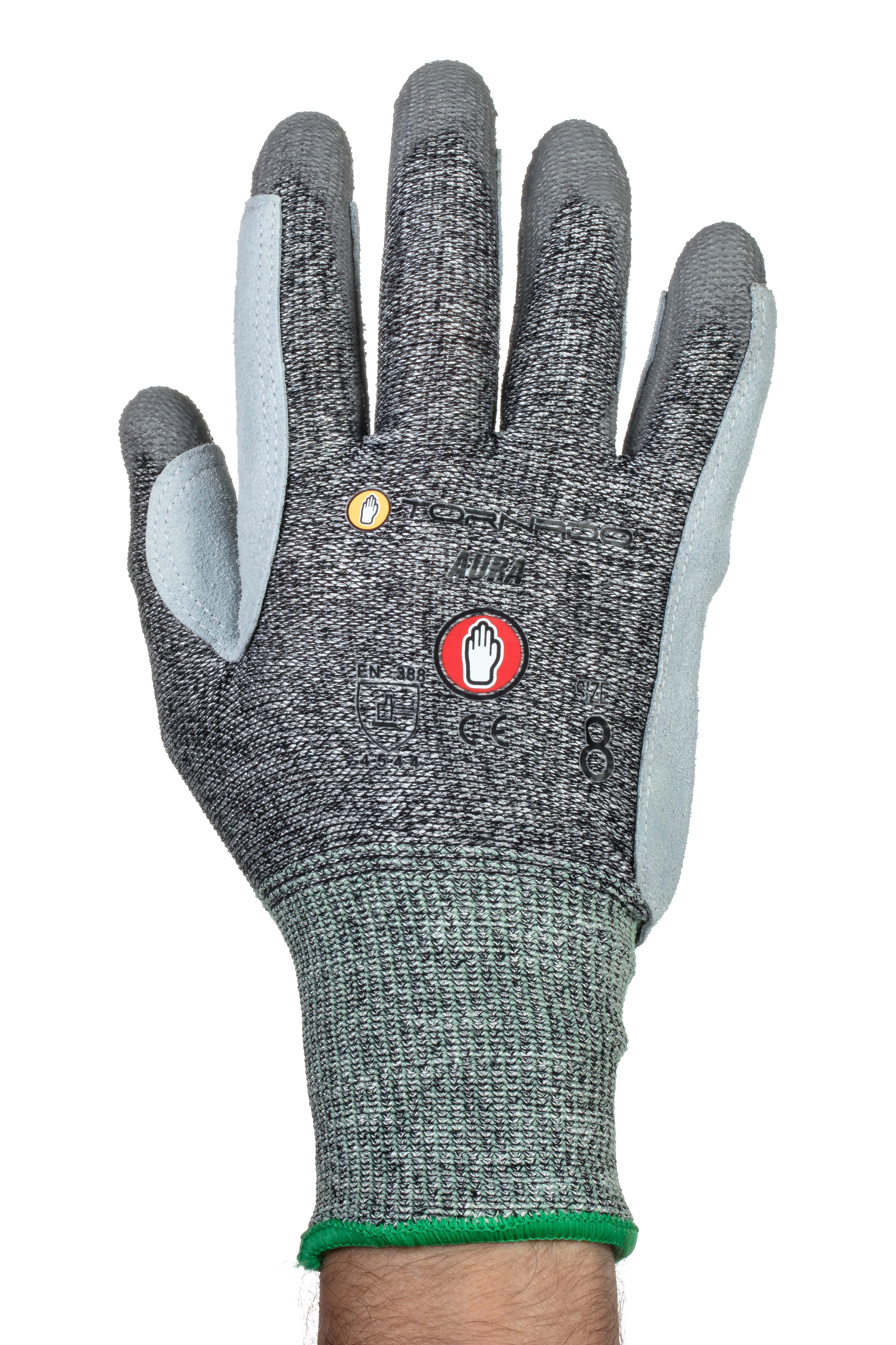 TORNADO Aura Kevlar Gloves Cut Level 5 - Medium Size: 8 Leather palm for maximum protection