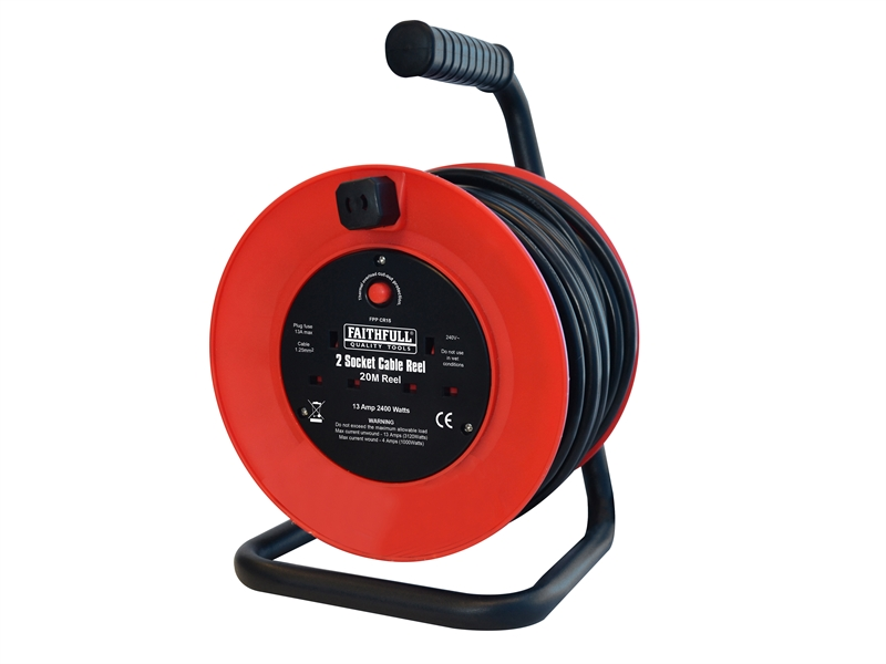 Faithfull Open Frame Cable Reel with Thermal Protection 20m