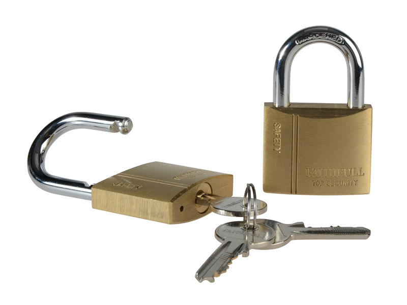 Faithfull Brass Padlocks Keyed Alike 40mm, Twin Pack