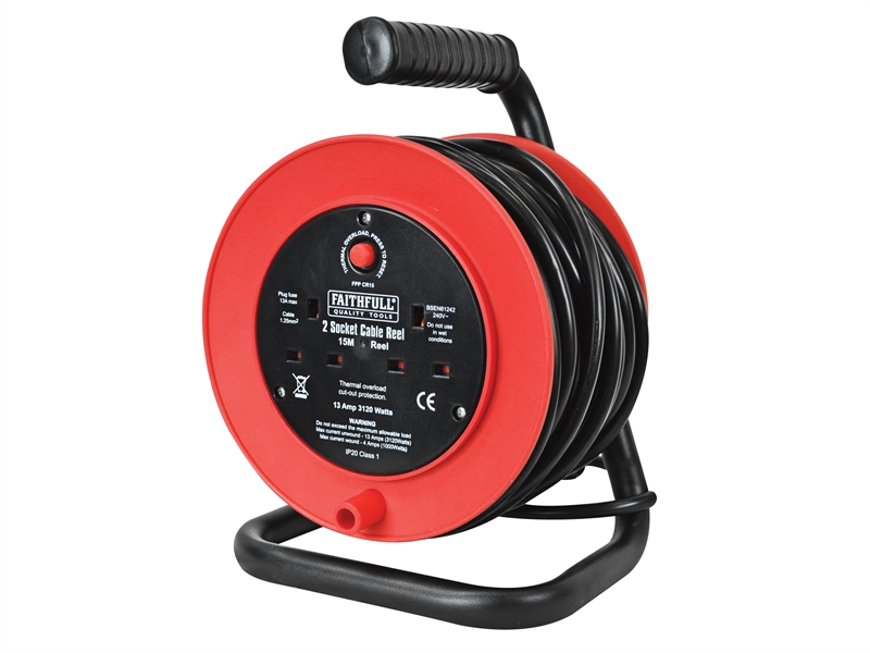 240v Freestanding 15M Extension Cable Reel (2 sockets)