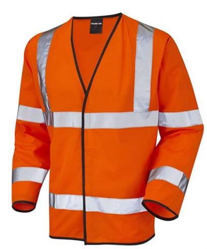 Class 3 Orange Hi-Vis Long Sleeved Large Waistcoat With ID Pocket